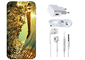 Spygen APPLE Iphone 4/4s Combo of Premium Quality Designer Printed 3D Lightweight Slim Matte Finish Hard Case Back Cover + Charger Adapter + High Speed Data Cable + Premium Quality Handfree