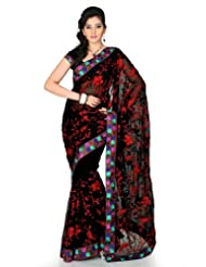 Designersareez Women Chiffon Embroidered Black Saree With Unstitched Blouse(1244)