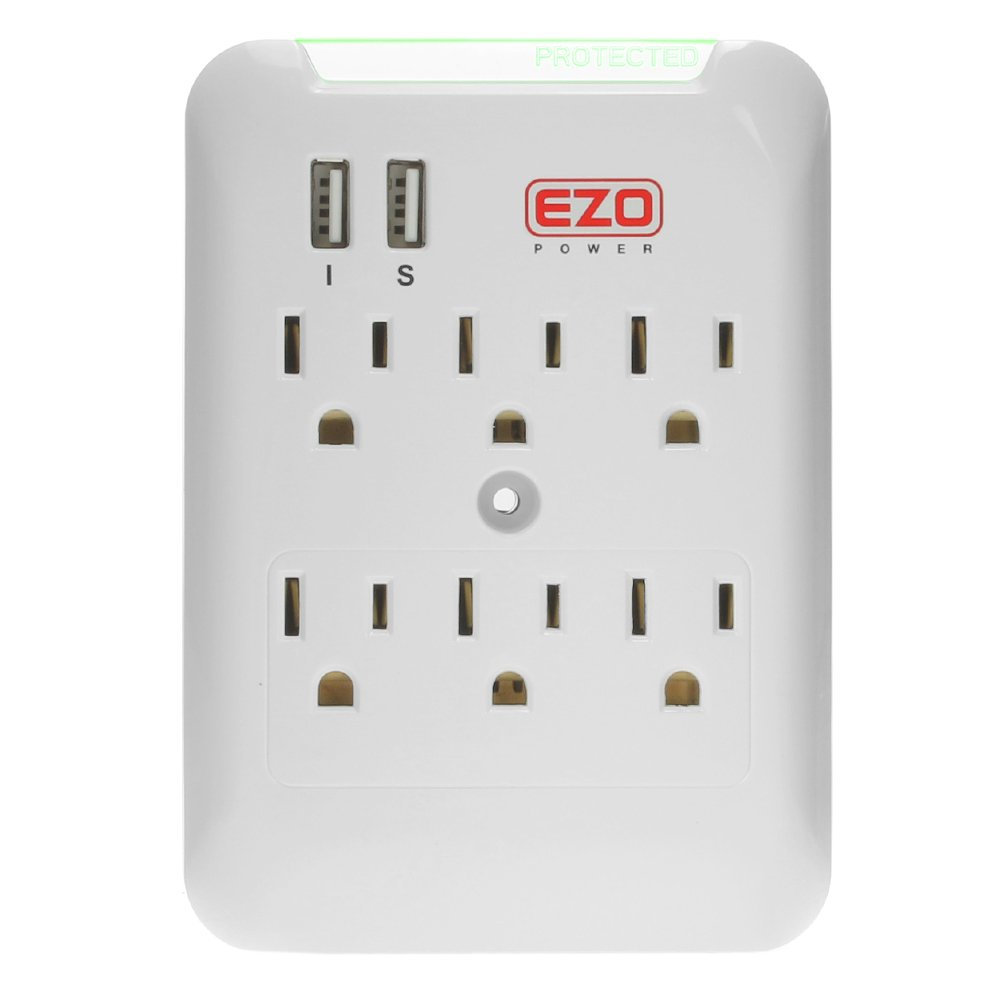 Ezopower 6 Ac Outlet Wall Mount Plate Surge Charge