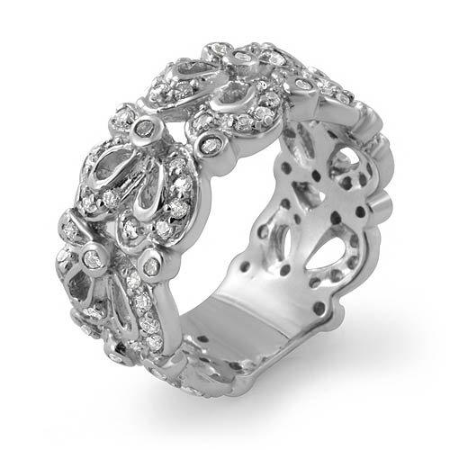 Round Cz Stone Eternity Wedding Band Anniversary Ring 925 Sterling Silver Sz6