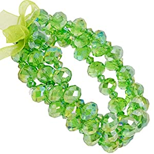 Heirloom Finds Set of 3 Green Aurora Borealis Crystal Bead Stretch Bracelets
