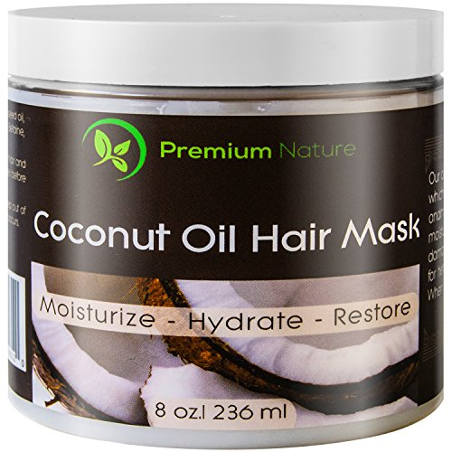 Coconut Oil Hair Mask 8 oz 100% Natural Hair Care Treatment - Intensive Repair, Restores Shine & Nourishes Scalp, By Premium Nature (Up And Up Target Brand compare prices)