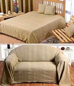 Homescapes - Rajput Ribbed Throw - 60 x 80 Inches -Plain Beige - Handmade 100% Cotton - Suitable for most 2 Seater Sofas - Single bedspreads - Easy care washable at home