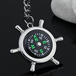 Evana Silver Metallic Key Chain with Compass for Car Auto Bike Cycle Home Key Ring