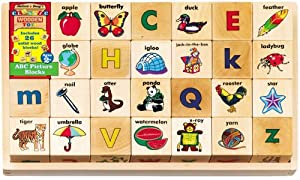 Melissa & Doug 26-piece Wooden ABC Picture Blocks in a Wooden Storage Tray