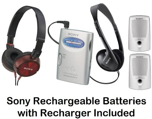 Sony Walkman Portable Lightweight Am Fm Stereo Radio With Belt Clip, Over The Head Stereo Headphones, Pressure Relieving Studio Monitor Headphones (Red) & Passive Lightweight Portable Speakers - Plus Sony Rechargeable Batteries With Recharger