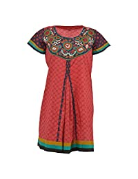 Krisha Fashion Women's Cotton Red Short Sleeve Kurti