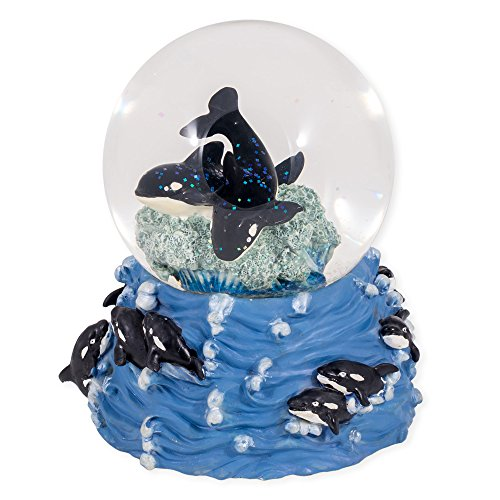 Killer Whales Swimming in the Ocean Glass Musical Snow Globe Plays Song Over the Waves
