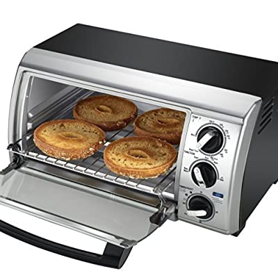 Black & Decker TRO480BS 4-Slice Toaster Oven, Black/Silver from Black & Decker