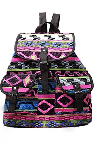 Geometric Brand New Vintage Floral Ladies Canvas Bag / School Bag / Backpack
