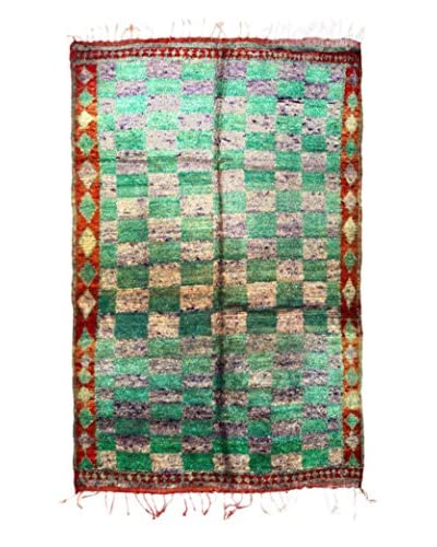 "nuLOOM One-of-a-Kind Hand-Knotted Vintage Moroccan Berber Rug, Green, 5' 7"" x 9' 2"""