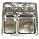 India Bazaar Stainless Steel Square 5 Compartment Mesh Tray Beaded / Indian Thali/Dinner Plate/ Suitable for Camping and Picnics!