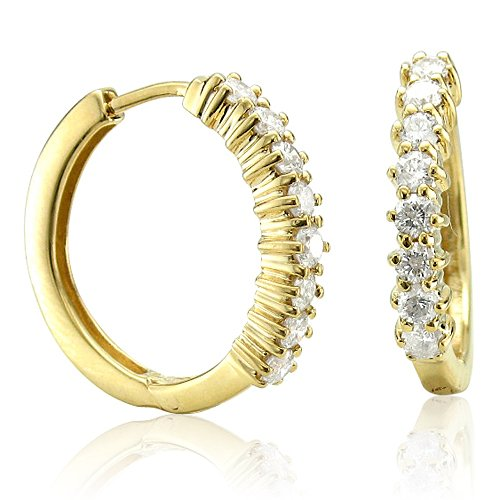 Discount Diamond Accented Earrings 14k Yellow Gold Circle Hoop