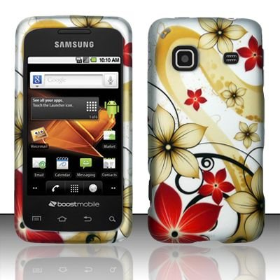 Premium Red and Gold Flower Design Rubberized Shield Hard Case Cover for Samsung Galaxy Prevail (Boost Mobile)