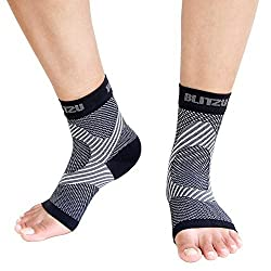 Blitzu Ankle Brace Support Foot Sleeves Plantar Fasciitis Medical Compression Socks for Men Women Arch, Heel, Achilles, Fast Relief Recovery from Swelling & Foot Pain, Best for Running & all Sports S/M Black