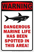 Shark Tooth Teeth Bite Attack Warning Sign Dangerous Marine Life Beach Plaque