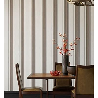 Rockafella Striped Wallpaper Chocolate Colour Full Roll by wallpaper heaven