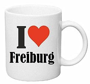 "Kaffeetasse ""I Love Freiburg"" Keramik Höhe 9,5cm ? 8cm in Weiß"