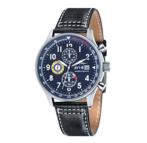 avi-8-mens-hawker-hurricane-chronograph-quartz-watch-with-blue-dial-analogue-display-and-black-leath