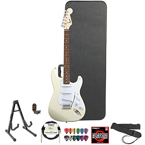 Squier Bullet By Fender (031-0001-580) Arctic White Strat With Picks, Tuner, Stand, Hard Case, Strap, Cable, Online Lesson & Strings