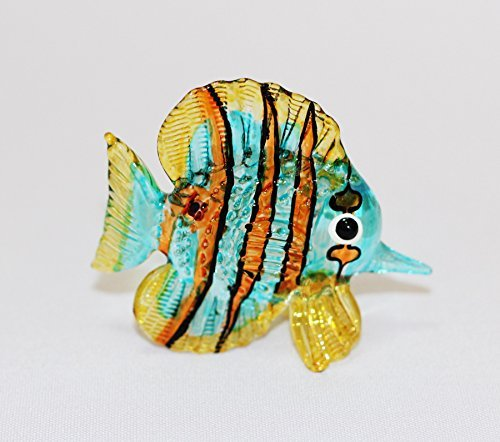 Aquarium Coastal Style MINIATURE HAND BLOWN Art GLASS Fish Orange Blue Snapper FIGURINE Collection (Aquarium Fish Chart compare prices)