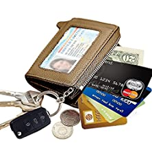buy Lecxci-Mens Womens Zipper Leather Coin Change Credit Card Pouch Purse Holder Wallet With Id Window, Packaged With Gift Box (Gold With Car Key Ring)