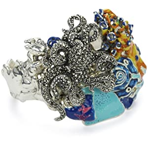 "Karen London ""Natural Stones Flower"" Seascape Cuff Bracelet"