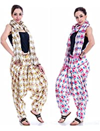 Om Prints Multi Colour Women's Patiala And Dupatta Set Of 2 ( Free Size)