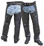 Black Leather Motorcycle Chaps - Leatherbull (Free U.S. Shipping)