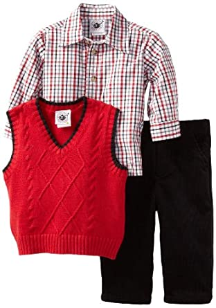 Good Lad Baby-Boys Infant Solid Sweater Pant Set, Red, 24