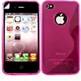 S-Line Gel Case Cover Shell And Screen Protector For Apple iPhone 4 4S / Matte Hot Pink
