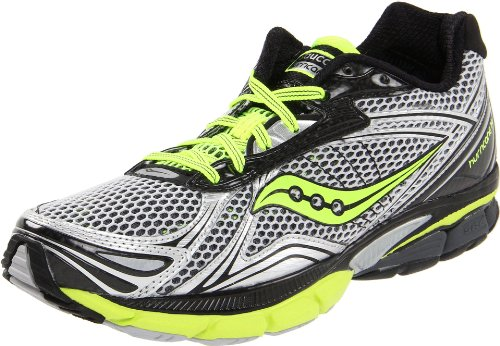 Saucony Men's Powergrid Hurricane 14 Running Shoe,Silver/Black/Citron,11 M US