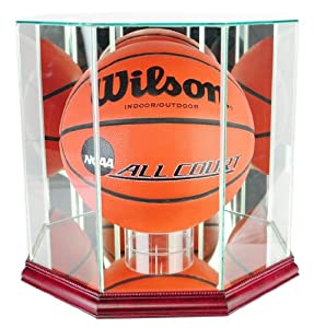 Buy Basketball Display Case with Glass Top and Octagon Cherry Base by Hall of Fame Memorabilia