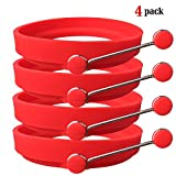 TaleeMall Nonstick Silicone Egg Ring Pancake Mold, Round Egg Rings Mold (4 Pack Red)