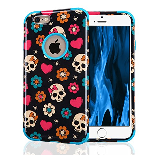 iPhone 6 Case, iPhone 6S Case, JoJoGoldStar Dual Layer Hybrid, Slim Fit Plastic and Silicone TPU Cover with Stylus and Tempered Glass Screen Protector - Skulls, (Cute Halloween Pic)
