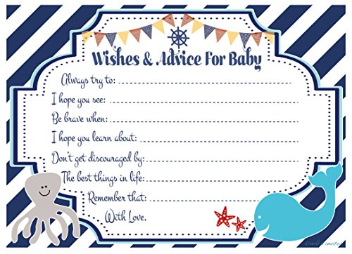 Nautical Wishes and Advice for Baby Cards - Baby Shower Activity/Game (20 Count)
