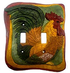 French Country Rooster Kitchen Decor Double Switch Plate Cover