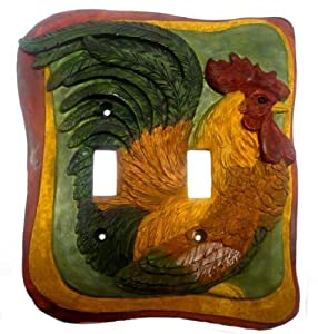 French Country Rooster Kitchen Decor Double Switch Plate