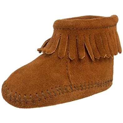 Free shipping and returns on Minnetonka Fringe Bootie (Baby & Walker) at shinobitech.cf An adorable crib shoe cut from soft suede features decorative topstitching and a fringed topline/5.