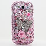 3D Luxury Swarovski Crystal Diamond Pink Silver Butterfly Design Case Cover for Samsung Galaxy S3 S III i9300 fits Verizon, AT&T, T-mobile, Sprint and other Carriers (Handcrafted by BlingAngels)