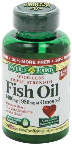 Nature s bounty triple strength one per day fish oil 1400 for How much fish oil a day