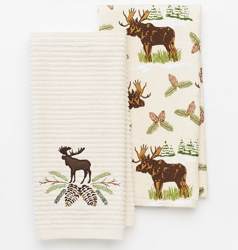 2pc Moose and Pinecone Kitchen Towel Set (Moose Kitchen Decor compare prices)