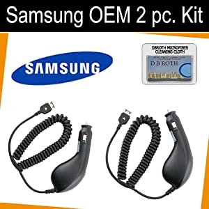 Original OEM Set of 2 Car Chargers for your Samsung Omnia i910 + DBROTH Cloth