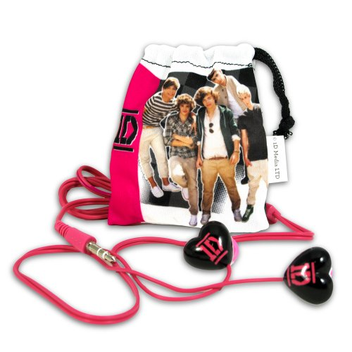 1 Direction Earbuds, Black with Pink Logo