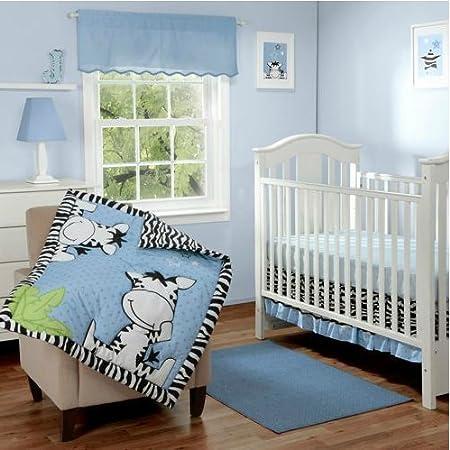 I Luv Zebra Crib Bedding Blue