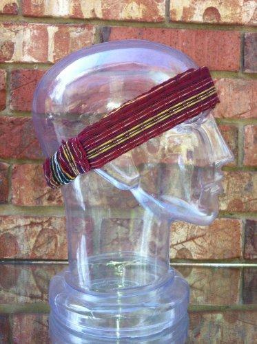 Inspirit Arts Small Burgundy With Earthtone Stripes Headband Expandable Handwoven Open Net Weave Lightweight Bandana Headwrap Elastic 100% Cotton Hair Scarf front-451605