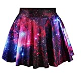 AZIZY Women's Fashion Galaxy Digital Print Stretchy Pleated Skater Mini Skirt