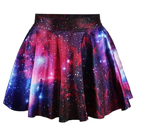 AZIZY-Womens-Fashion-Galaxy-Digital-Print-Stretchy-Pleated-Skater-Mini-Skirt