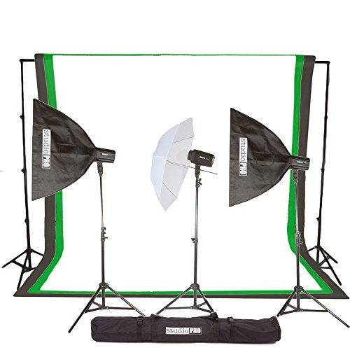 Studiopro 300W/S Triple Strobe Monolight Softbox Flash Lighting Kit With 10'X20' White Muslin Backdrop And Background Support