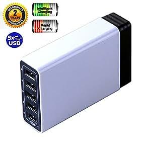 BrainWizz® 50W 10A / 5 Ports Chargeur Secteur USB muni de la Technologie PowerIQ, Chargeur Mural avec Câble d'Alimentation 1.5 mètre pour Smartphone Apple & Android, Tablettes et Autres Appareils se chargeant via USB 5V.